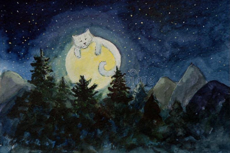 Pintura da fantasia de um gato na lua sobre a floresta ilustração royalty free