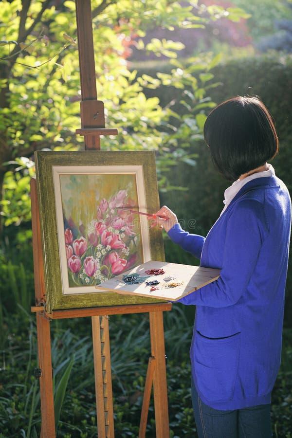 Pintura da flor no jardim fotos de stock