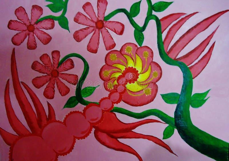 Pintura da flor no projeto criado lona do fundo ilustração royalty free