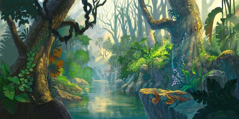 Pintura da floresta da fantasia ilustração do vetor