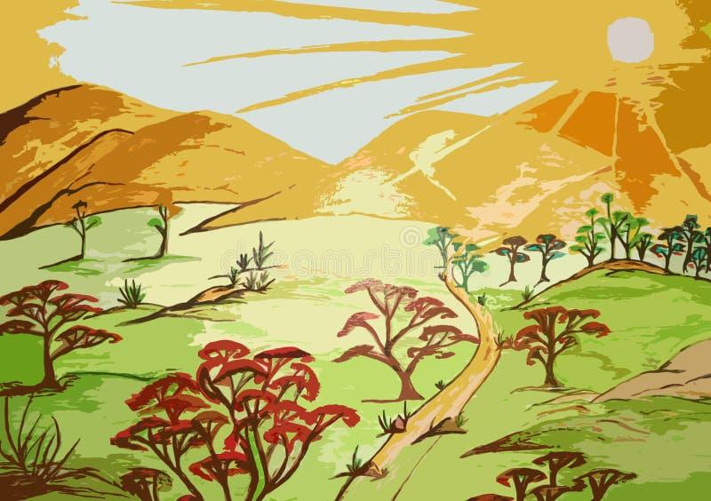 Pintura da floresta no projeto criado lona do fundo ilustração do vetor