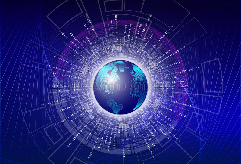 Pintura da ilustração de Digitas - código binário digital global com terra digital do planeta, conceito grande global dos dados ilustração royalty free