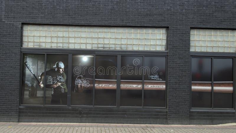 Pintura da janela em Ellum profundo que caracteriza o Triple Crown Winnter Brent Rooker da confer?ncia de Southweastern imagens de stock royalty free