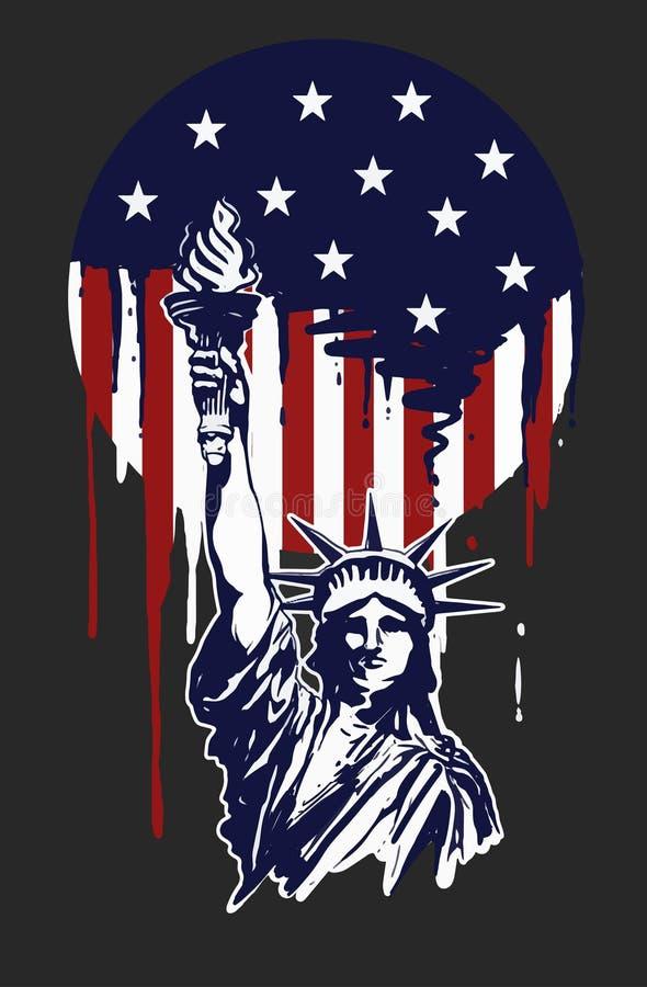 Pintura da liberdade para o Dia da Independ?ncia de Am?rica ilustração do vetor