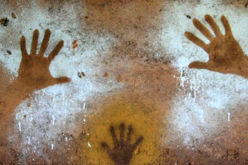 Pintura da mão - arte aborígene da rocha, Kakadu fotos de stock royalty free