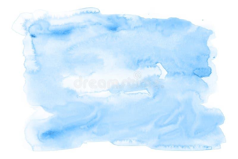 Pintura da mão da arte do fundo da aquarela dos azul-céu na textura do papel fotos de stock
