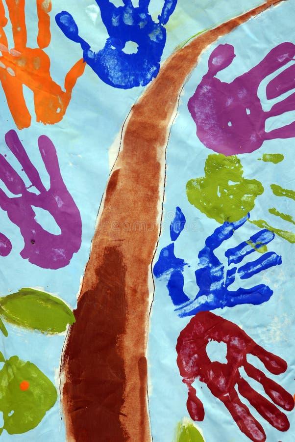 Pintura da mão das crianças imagem de stock