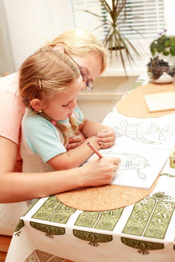 Pintura da matriz e da criança imagens de stock
