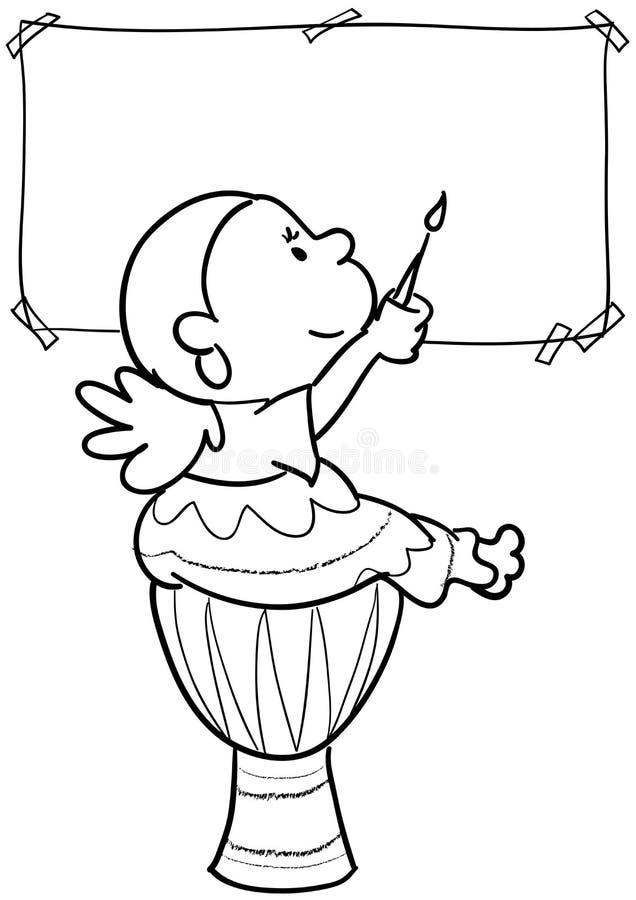 Pintura da menina ilustração royalty free