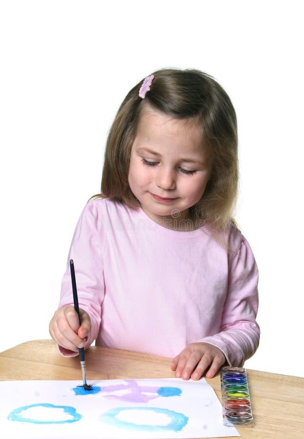 Pintura da menina fotografia de stock