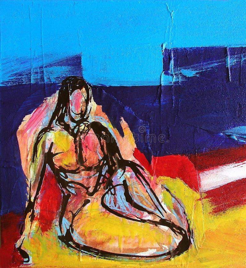 Pintura da mulher - Odalisque ilustração royalty free