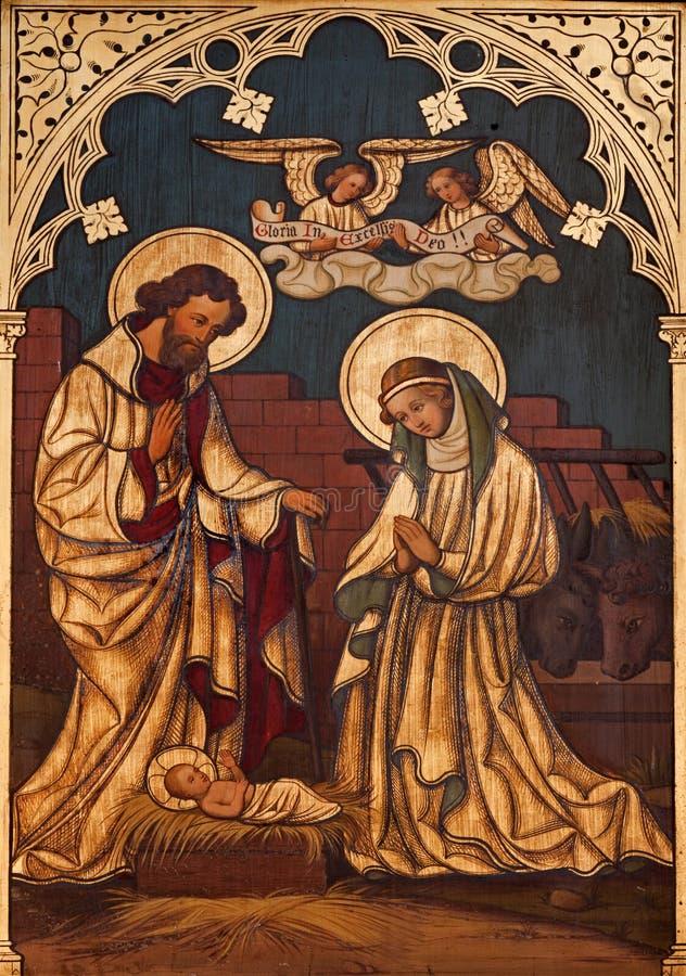 Pintura da natividade na madeira de Saint Antoine fotografia de stock royalty free