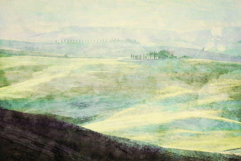 Pintura da paisagem de Toscânia no nascer do sol Montes verdes de Tuscan ilustração royalty free