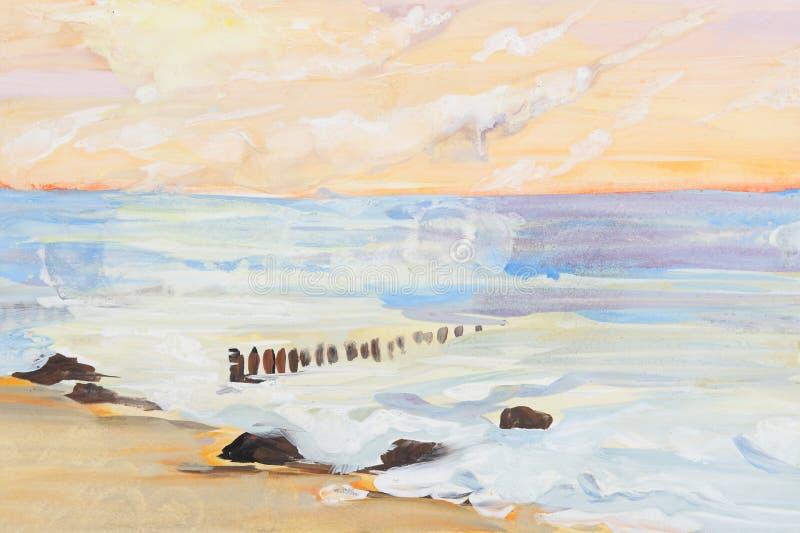 Pintura da paisagem e do por do sol do mar ilustração do vetor