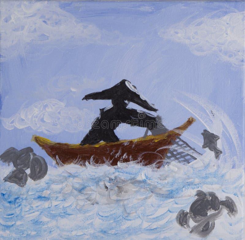 Pintura da rede de pesca da carcaça do pescador no acrílico fotografia de stock