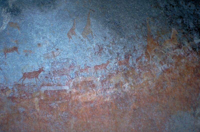 Pintura da rocha em montes de Matopos imagens de stock