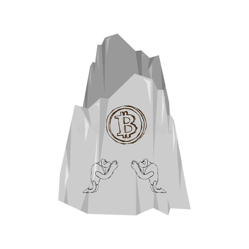 Pintura da rocha Os povos antigos adoram o bitcoin Cryptocurrency VE ilustração do vetor