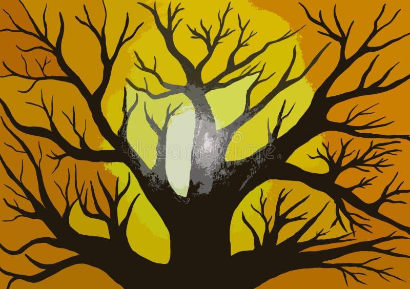 Pintura da silhueta no projeto criado lona do fundo ilustração do vetor