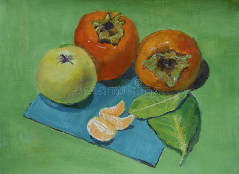Pintura da vida do destilador do guache com caquis, maçãs, o mandarino ilustração stock