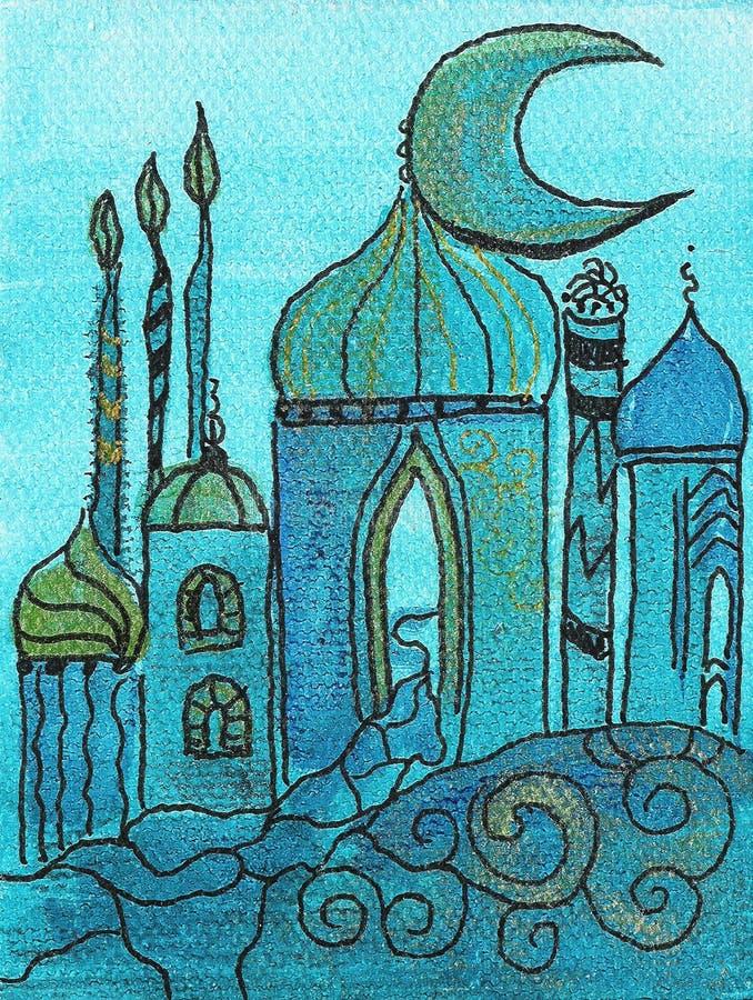 Pintura da vila oriental ilustração do vetor