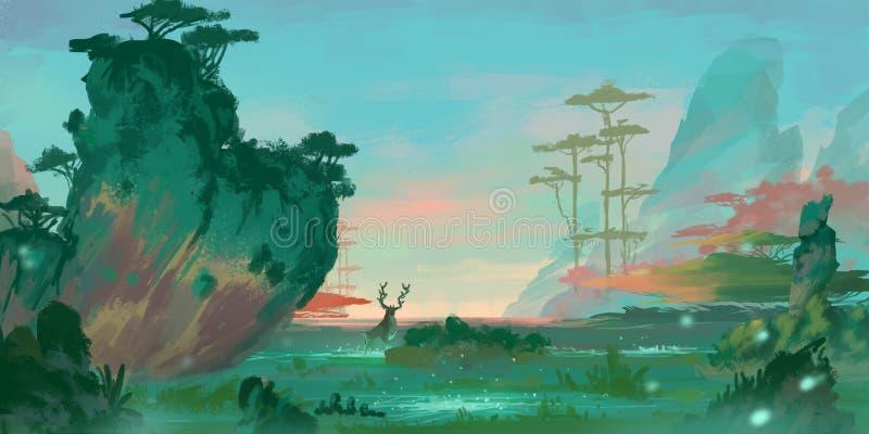 Pintura das águas das montanhas do estilo chinês SpitPaint Arte do conceito ilustração royalty free