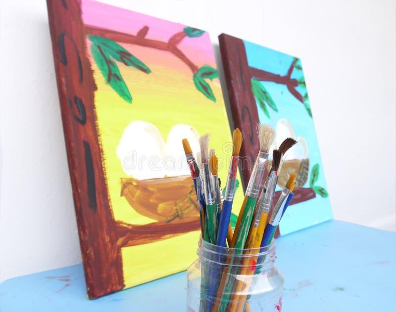 Pintura das crianças foto de stock