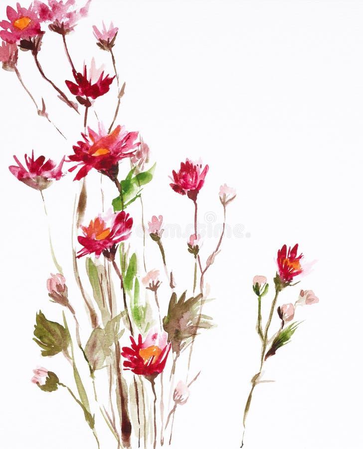 Pintura das flores ilustração do vetor