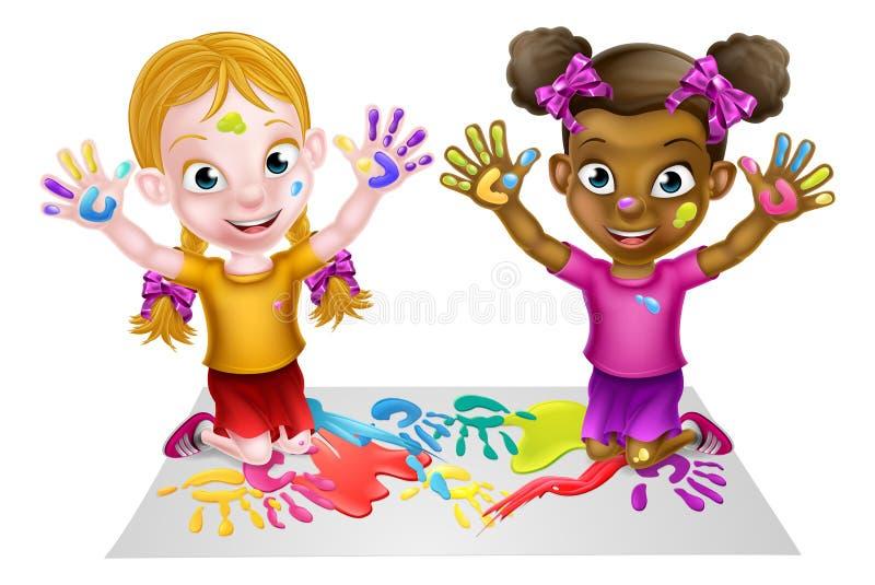 Pintura das meninas dos desenhos animados ilustração stock