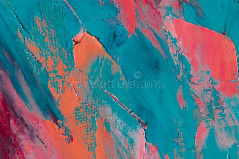 A pintura de óleo na lona é escrita pela faca de paleta Close up de uma pintura pela faca do óleo e de paleta na lona foto de stock