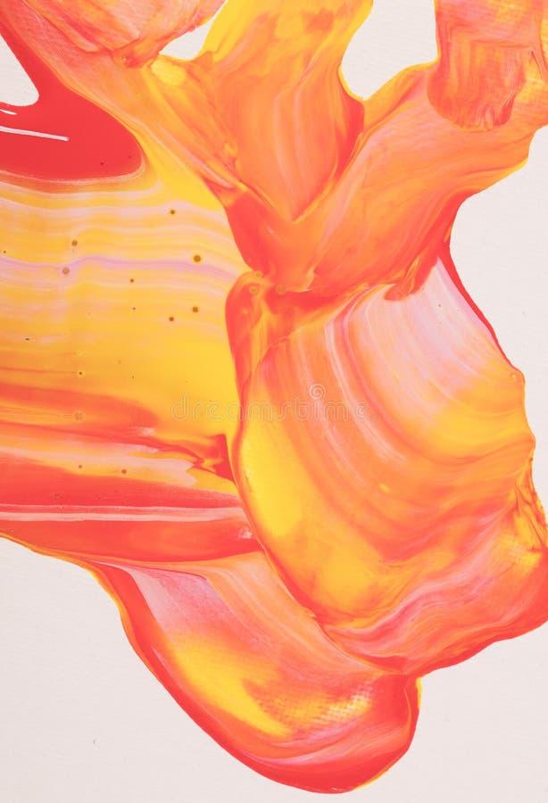 Pintura de acrílico abstracta anaranjada y amarilla ilustración del vector