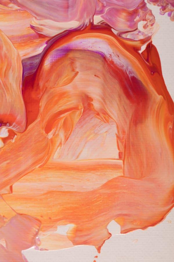 Pintura de acrílico abstracta anaranjada y violeta stock de ilustración