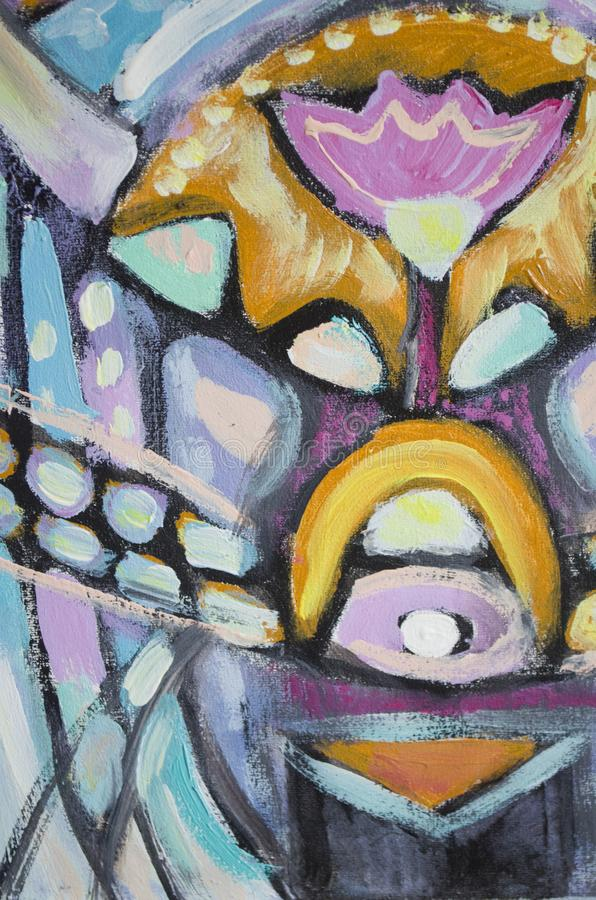 Pintura de acrílico abstracta exhausta de la mano en lona foto de archivo libre de regalías