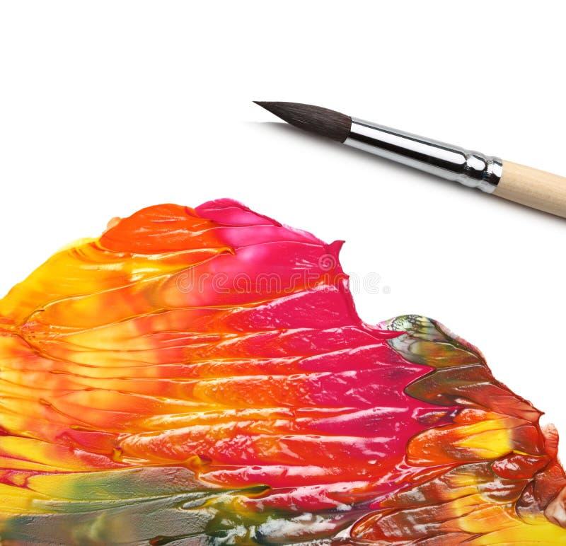 Pintura de acrílico del cepillo y del extracto fotos de archivo libres de regalías