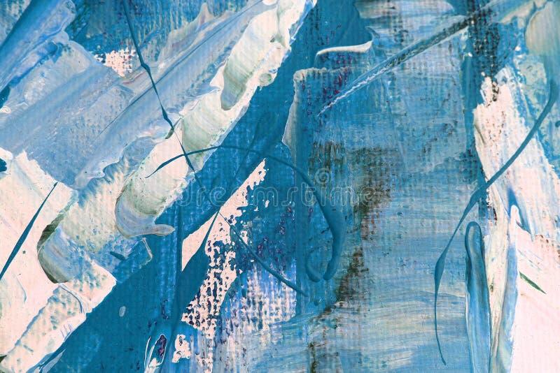 Pintura de acrílico dibujada mano Fondo del arte abstracto Pintura de acrílico en lona Textura del color Fragmento de las ilustra stock de ilustración