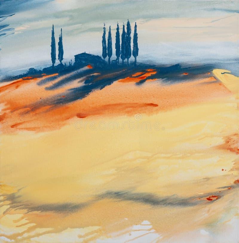 Pintura de acrílico de un paisaje toscano colorido amarillo, anaranjado, azul coloreado con la casa, de árboles y de cipreses c libre illustration