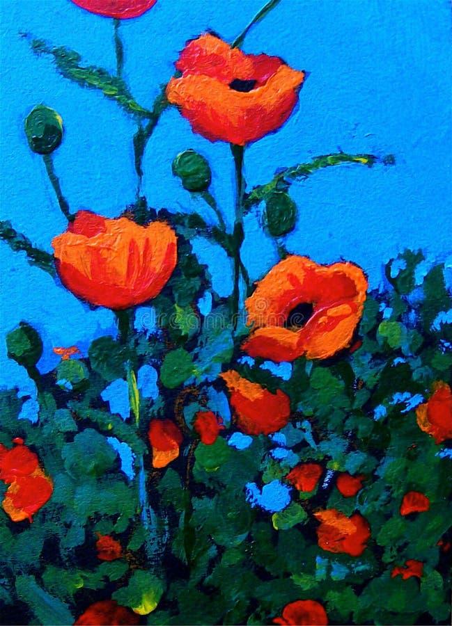 Pintura de amapolas rojas, impresionismo ilustración del vector
