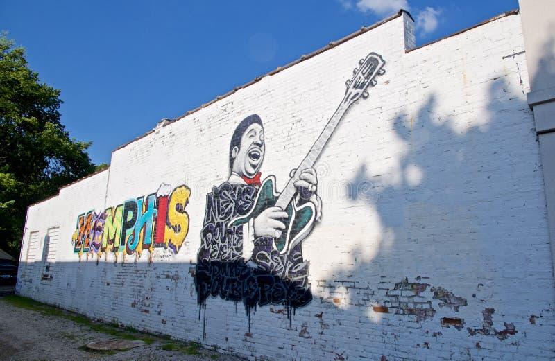 Pintura de B B Rey en un edificio en Memphis, TN fotos de archivo libres de regalías