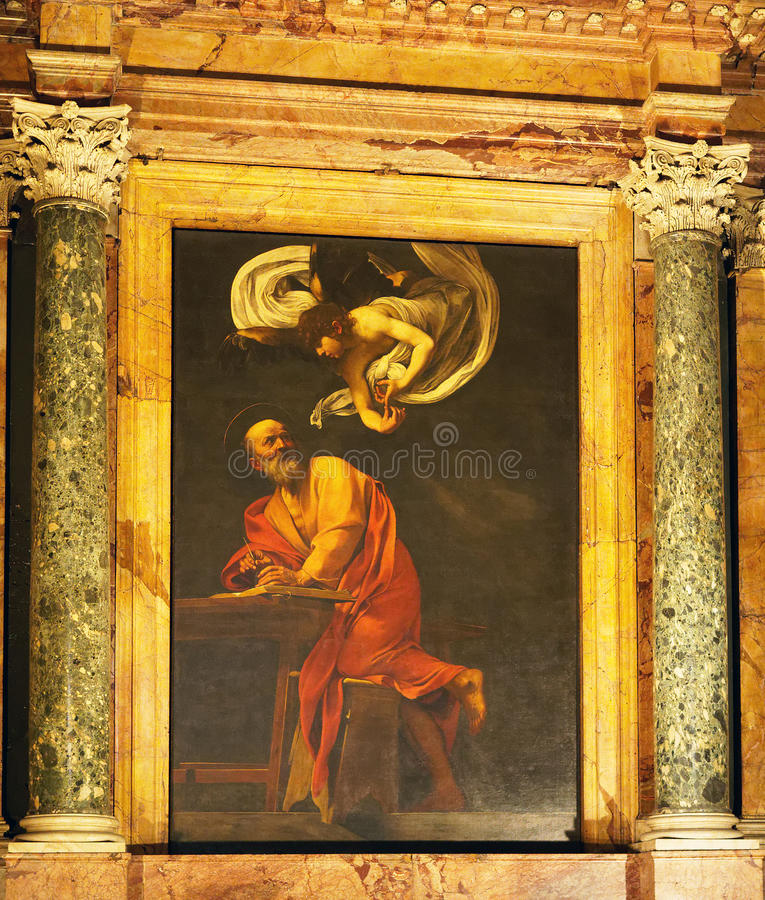 Pintura de Caravaggio, la iglesia de St. Louis del francés, Roma, Italia foto de archivo