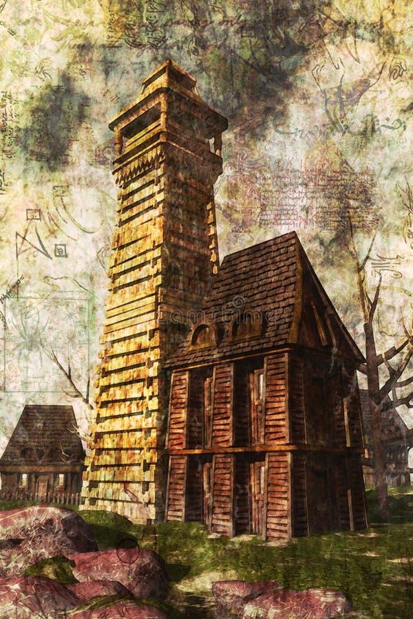Pintura de casa assombrada ilustração stock