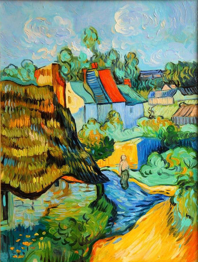 Pintura de casas de Van Gogh fotos de stock