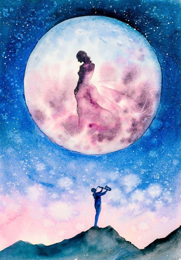 Pintura de color de agua - Un joven músico transmite su afecto a una fantástica diosa ilustración del vector
