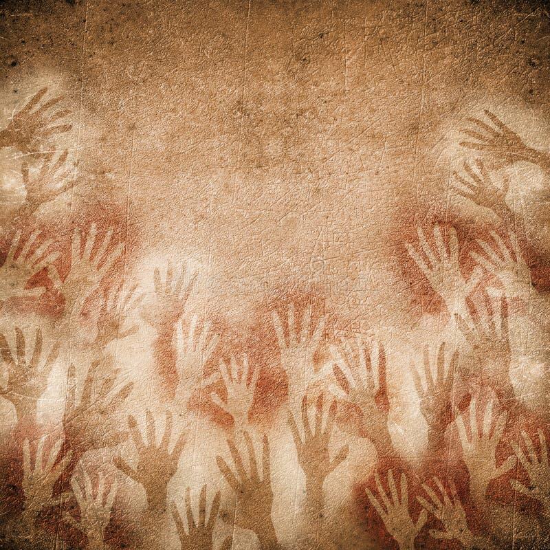 Pintura de cuevas con las manos stock de ilustración