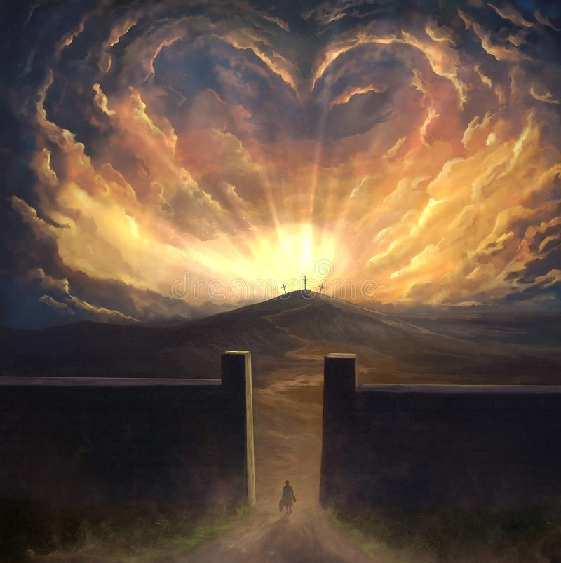 Pintura de Digitas da cruz de cerco do amor ilustração do vetor