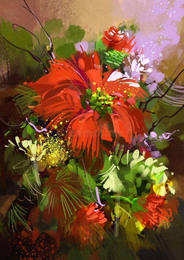 Pintura de Digitas de flores abstratas coloridas ilustração do vetor