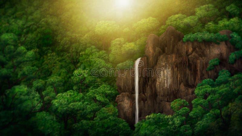 Pintura de Digitas do dossel da selva ilustração royalty free