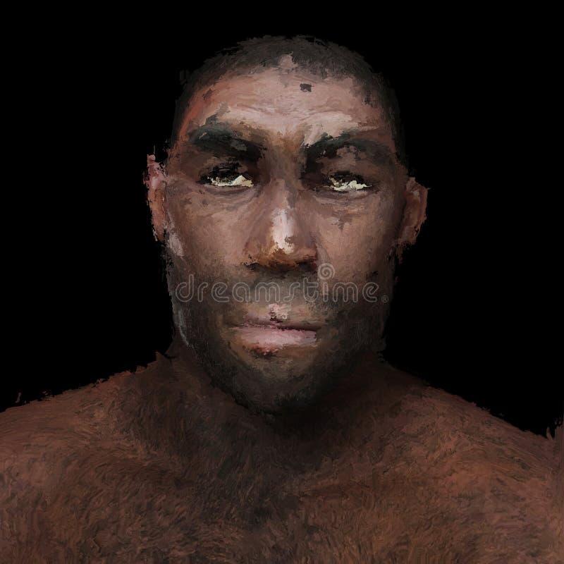 Pintura de Digitas de um homem pré-histórico ilustração royalty free