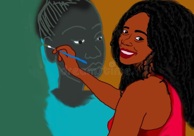 Pintura de Digitas de uma mulher que pinta uma mulher negra ilustração stock