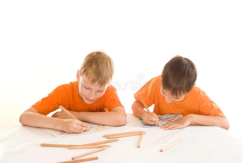 Pintura de dois irmãos foto de stock