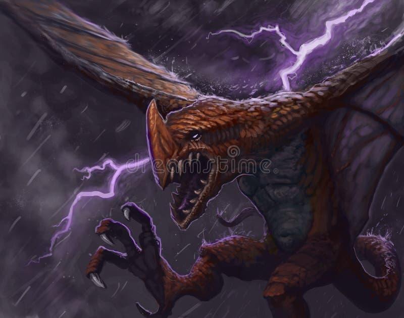 Pintura de fantasia digital de uma criatura de dragão vermelho voando através de uma tempestade relâmpago ilustração do vetor