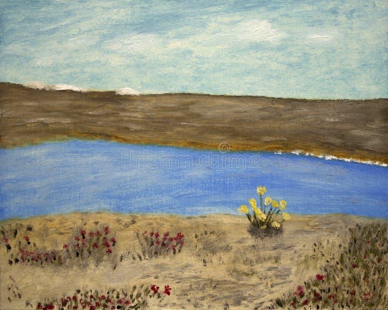 Pintura de flores por el río imagen de archivo